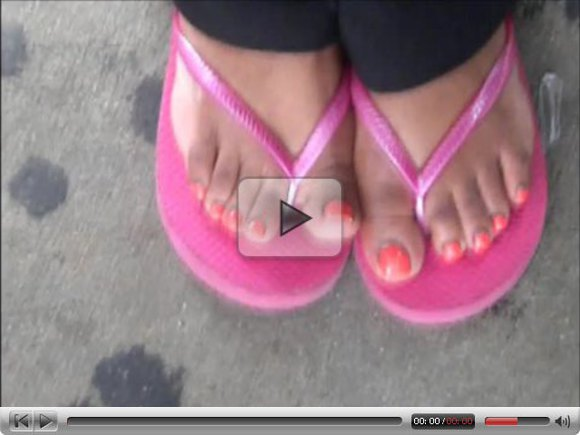 Taylor Orange Toenails