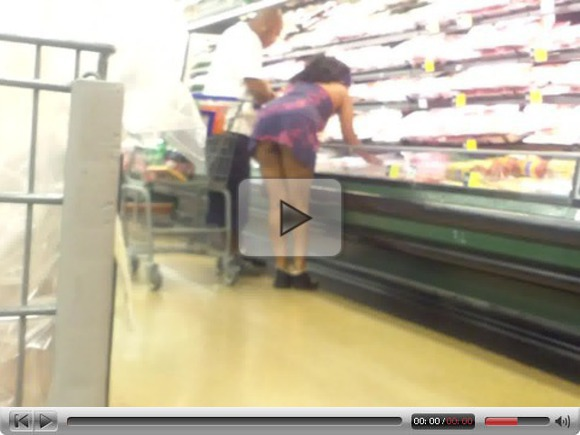 Upskirt His Gf At Krogers