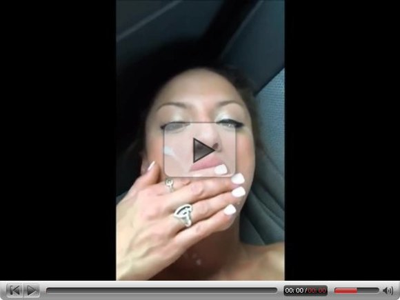 Messy facial in the backseat