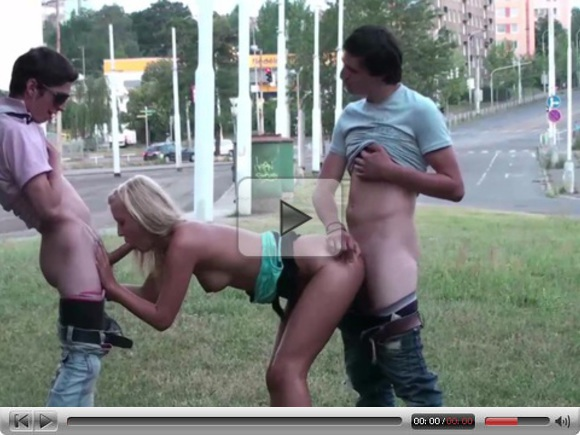 Young teens PUBLIC street orgy threesome